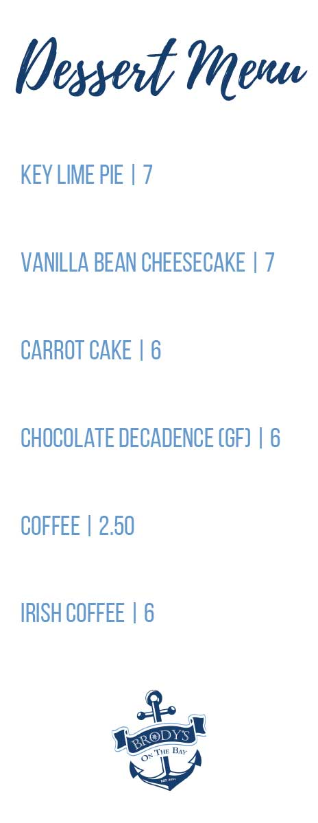 brodys on the bay restaurant desserts menu penfield ny